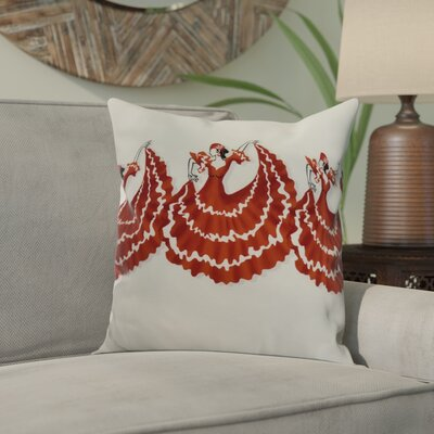 Hirschman 3 Dancers Print Indoor/Outdoor Throw Pillow Color: Red Orange, Size: 16 x 16