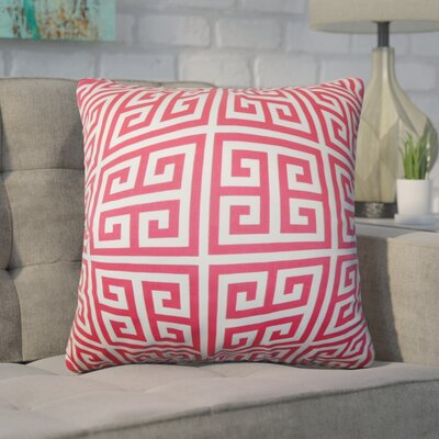 Dufault Greek Key Cotton Throw Pillow Cover Color: Pink