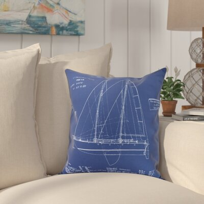 Crider Sail Plan Print Indoor/Outdoor Throw Pillow Size: 16 x 16