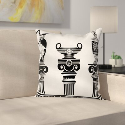 Hellenic Vases Set Square Cushion Pillow Cover Size: 24 x 24