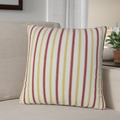 Kristofer Striped Cotton Throw Pillow Color: Gold/Red