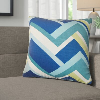 Bryn Geometric Cotton Throw Pillow Color: Aqua Green
