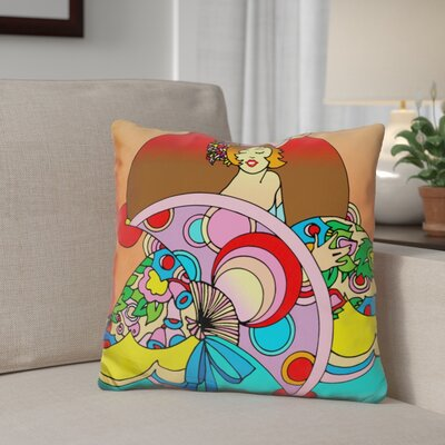 Berrier Art Deco Fan Lady Throw Pillow