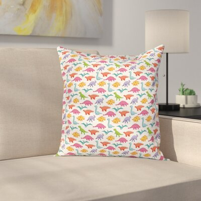 Dinosaur Kids Pattern Square Cushion Pillow Cover Size: 18 x 18