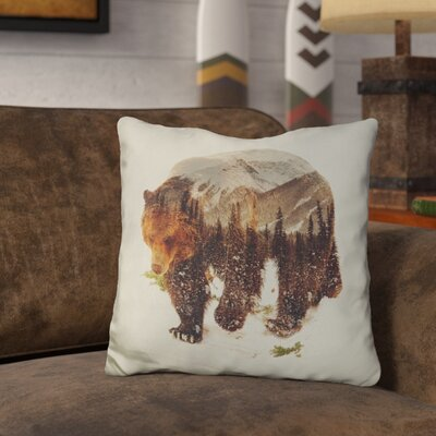 Leite Wild Grizzly Bear Throw Pillow