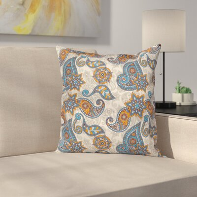 Floral Graphic Print Pillow Cover Size: 18 x 18