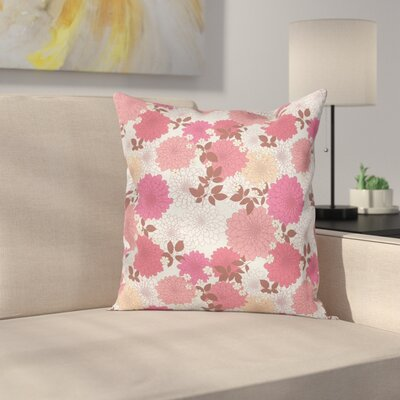 Floral Romantic Bouquet Retro Square Pillow Cover Size: 18 x 18