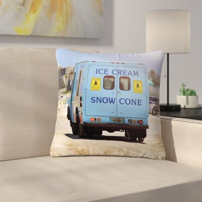 Angie Turner Ice Cream Truck Outdoor Throw Pillow Size: 16 H x 16 W x 5 D
