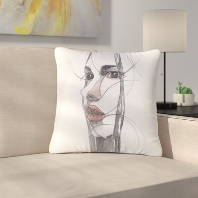 Maria Bazarova Young Girl Outdoor Throw Pillow Size: 16 H x 16 W x 5 D