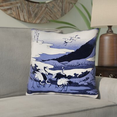 Montreal Japanese Cranes Square Indoor/Outdoor Throw Pillow Size: 16 x 16 , Pillow Cover Color: Blue