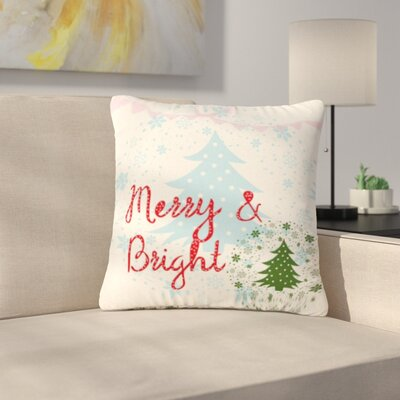 Famenxt Merry and Bright Holiday Typography Outdoor Throw Pillow Size: 18 H x 18 W x 5 D