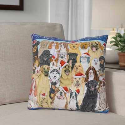 Berner Happy Holidays Dog Group Throw Pillow