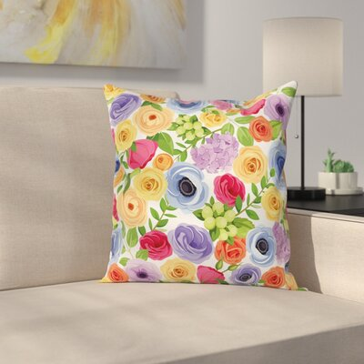 Anemone Ornate Square Cushion Pillow Cover Size: 16 x 16