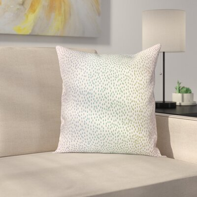 Abstract Art Rainbow Raindrops Square Pillow Cover Size: 18 x 18