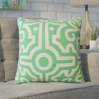 Wethington Geometric Down Filled 100% Cotton Throw Pillow Size: 18 x 18, Color: Jade