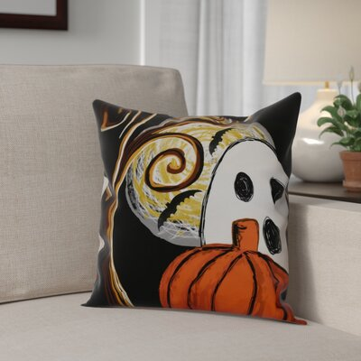 Flipping For Fall Ooky Spooky Throw Pillow Size: 16 H x 16 W x 2 D, Color: Black