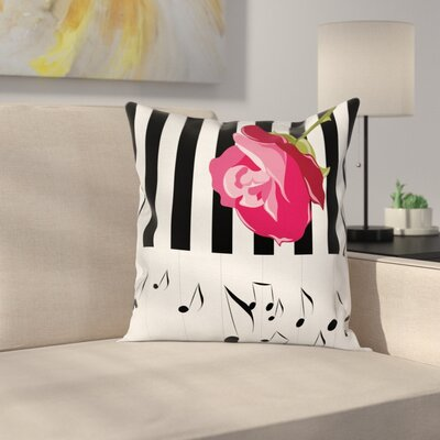 Modern Piano Rose Pillow Cover Size: 18 x 18