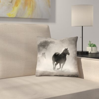 Aminata Galloping Horses Double Sided Print Throw Pillow Size: 16 x 16