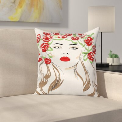 Girl Lady with Floral Ornament Square Pillow Cover Size: 16 x 16