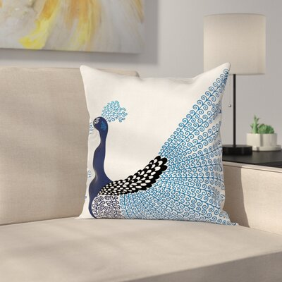 Exotic Peacock Feather Cushion Pillow Cover Size: 16 x 16