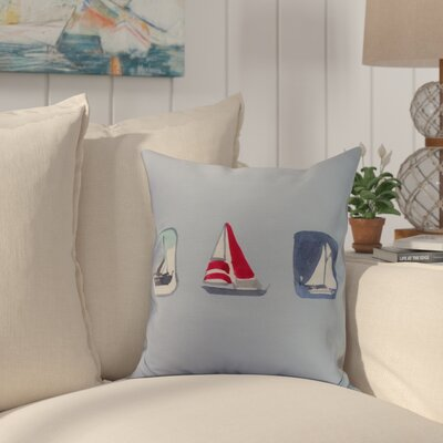 Crider Boat Trio Print Indoor/Outdoor Throw Pillow Color: Blue, Size: 16 x 16