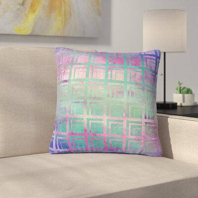 Matt Eklund Tiled Dreamscape Outdoor Throw Pillow Size: 18 H x 18 W x 5 D, Color: Purple/Teal