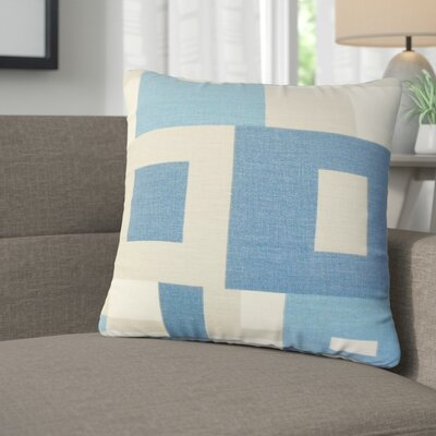 Roselyn Geometric Linen Throw Pillow Color: Blue