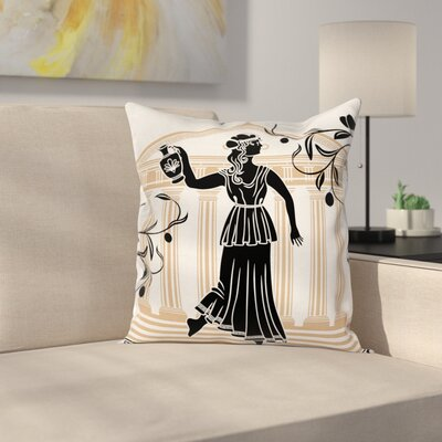 Woman with Amphora Square Cushion Pillow Cover Size: 16 x 16
