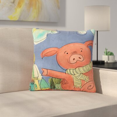 Carina Povarchik Happy Urban Pig Outdoor Throw Pillow Size: 16 H x 16 W x 5 D