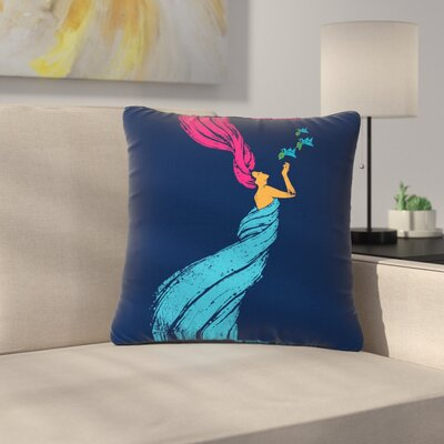 BarmalisiRTB Welcomes Peace Illustration Outdoor Throw Pillow Size: 18 H x 18 W x 5 D
