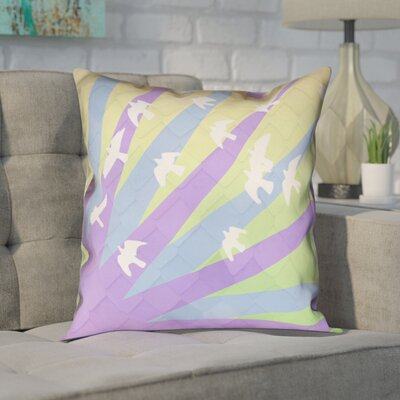 Enciso Birds and Sun 100% Cotton Pillow Cover Color: Purple/Blue/Yellow, Size: 14 H x 14 W