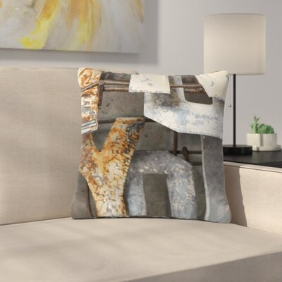 Jennifer Rizzo Patina Letters Outdoor Throw Pillow Size: 18 H x 18 W x 5 D