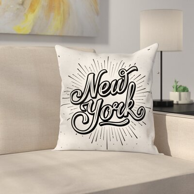 New York Typography Square Pillow Cover Size: 24 x 24