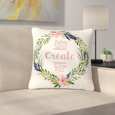 Create Typography Watercolor Outdoor Throw Pillow Size: 16 H x 16 W x 5 D