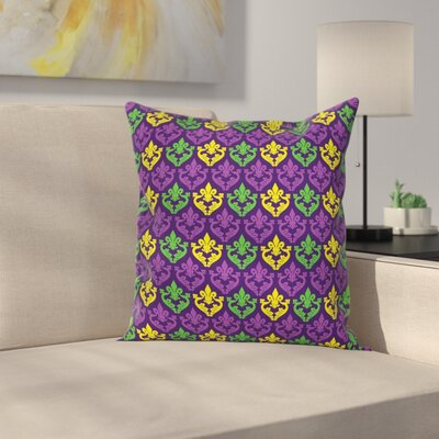 Mardi Gras Antique Motifs Tile Square Cushion Pillow Cover Size: 24 x 24