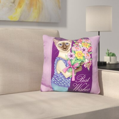 Siamese Flowers Throw Pillow