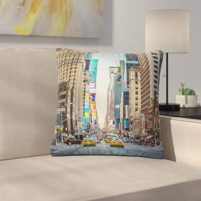 Ann Barnes Sunset over 7th Urban Photography Outdoor Throw Pillow Size: 16 H x 16 W x 5 D
