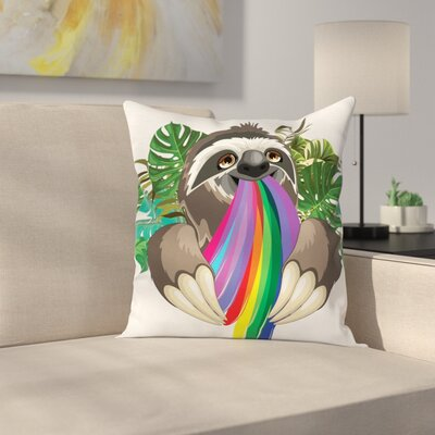 Sloth Indolent Jungle Animal Square Pillow Cover Size: 16 x 16