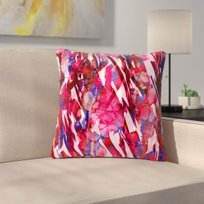 Ebi Emporium Frosty Bouquet Maroon Abstract Outdoor Throw Pillow Size: 18 H x 18 W x 5 D, Color: Maroon