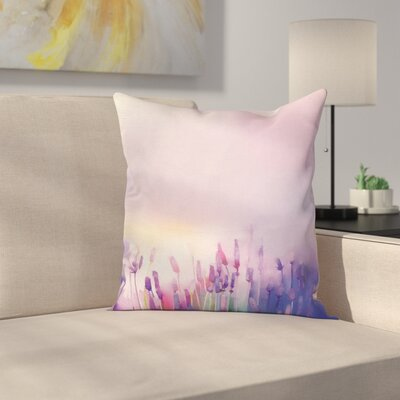 Lavender Flowers Square Pillow Cover Size: 24 x 24