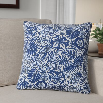 Nhek Floral Throw Pillow Pillow Cover Color: Dark Blue