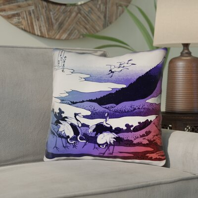 Montreal Japanese Cranes Square Indoor/Outdoor Throw Pillow Size: 16 x 16 , Pillow Cover Color: Blue/Red