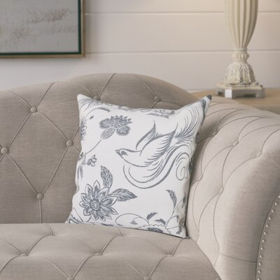 Cecilia Traditional Bird Throw Pillow Size: 26 H x 26 W, Color: Gray