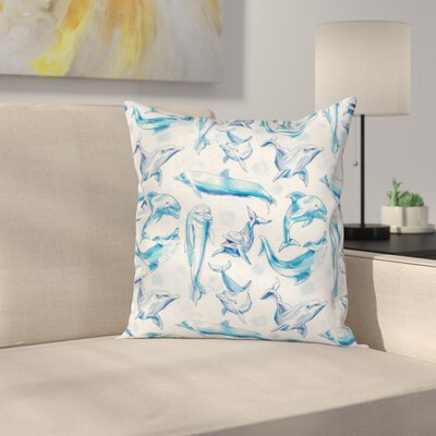 Ocean Life Sketch of Dolphins Square Pillow Cover Size: 16 x 16