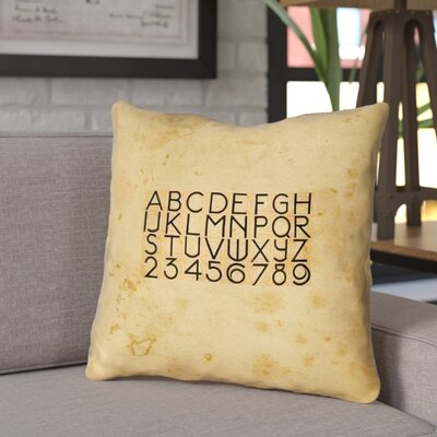 Daniyar Vintage Typography Throw Pillow with Zipper Size: 20 x 20