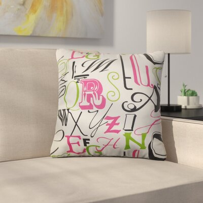 Rowles Typography Cotton Throw Pillow Color: Chartreuse