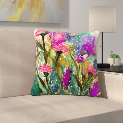 Ebi Emporium Floral Insurgence Outdoor Throw Pillow Size: 16 H x 16 W x 5 D, Color: Green/Pink