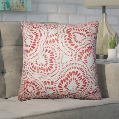 Winburn Floral Cotton Throw Pillow Color: Mint Red