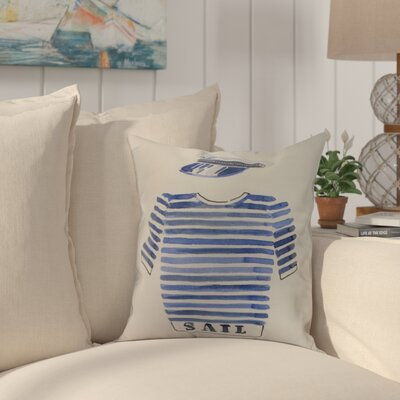 Crider Captain Shirt Print Indoor/Outdoor Throw Pillow Color: Ivory, Size: 20 x 20