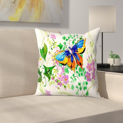 Suren Nersisyan Butterfly An Flowers Throw Pillow Size: 14 x 14